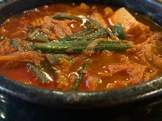 A kimchi-strewn stew from Seoul Korean Restaurant in Naples.