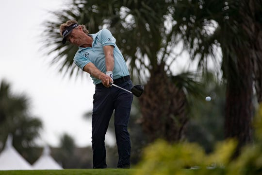 Bernhard Langer of Munich Germany, tees off at the 10th hole during the first day of the Chubb Classic, Friday, Feb. 14, 2020, at Lely Resort in Lely, Florida.