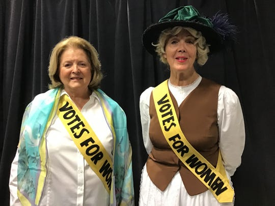 Patricia Forkan, in the League of Women Voters centennial scarf and Carrie Chapman Catt (Joanne Huskey