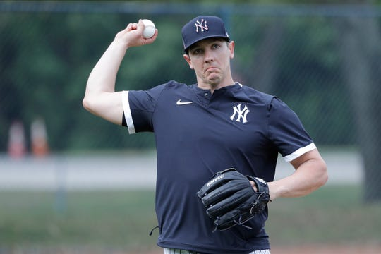 New York Yankees' Chad Green during a spring training baseball workout Thursday, Feb. 13, 2020, in Tampa, Fla.