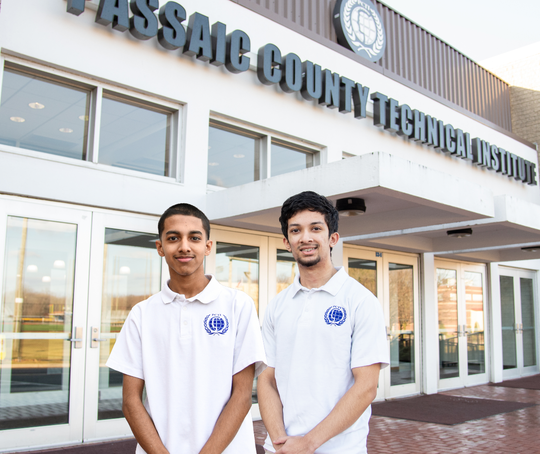 Passaic County Technical Institute seniors Dewan Chowdhury (left) and Shah Rahman won scholarships from the Horatio Alger Association.