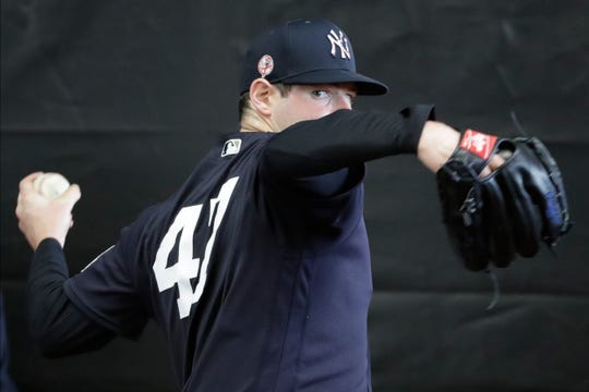 New York Yankees' Jordan Montgomery during a spring training baseball workout Thursday, Feb. 13, 2020, in Tampa, Fla.