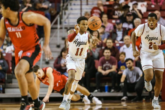 The New Mexico State Aggies face off against the Seattle Redhawks Pan American Center in Las Cruces on Thursday, Feb. 13, 2020.