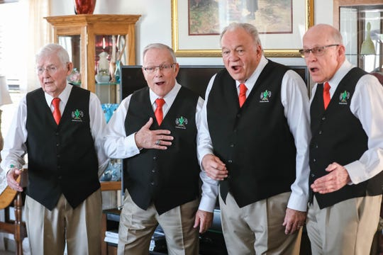 "The Cactus Chords barbershop quartet give a suprrise performance Friday, Feb. 14, 2020 at the home of Darlene Barber. This was Darlene's first Valentine's Day after her husband, Theodore ""Teddy"" Barber, passed away."
