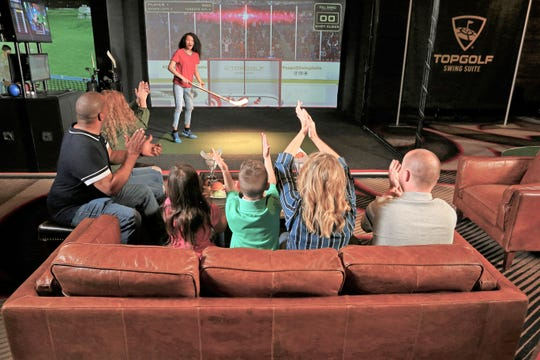 Guests can enjoy a variety of virtual golf and non-golf games, including the popular Topgolf target game.