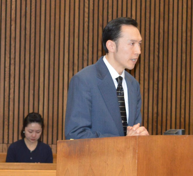 Futa Sakamoto, 44, of Canton apologized in court Friday, Feb. 14, 2020, for video voyeurism at the Aqua-Tots swim school in Canton.  A judge lightened tether orders and pushed the sentencing back to August.