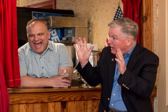 "At right, Ed Rouse, a spokesman for the Marine Corps League of Pensacola, recalls a funny story about retired U.S. Marine Corps Lt. Gen. Charles ""Chuck"" Pitman on Thursday at Goat Lips Chew & Brewhouse in Pensacola. Pitman passed away Thursday at the age of 84."