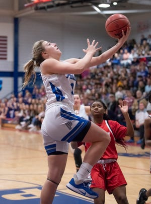 Violette Skipworth makes a lay up during the FHSAA state playoffs last season at Pace. Since then, she's had a productive summer and picked up interest from multiple college programs.