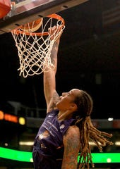 Center Brittney Griner re-signed Friday with the Phoenix Mercury. The Mercury have never missed the playoffs since drafting the 6-9 Griner No. 1 overall in 2013.