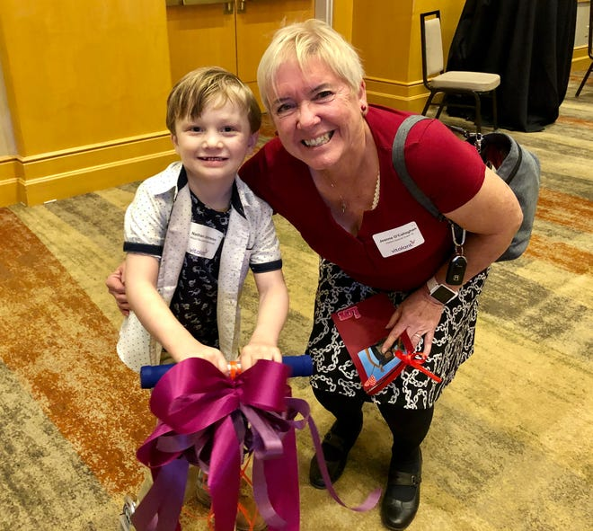 On Friday Jeanne O'Callaghan found out that in 2015, her blood donation provided a life-saving transfusion for a baby boy, Nathan Johnson, now 5.