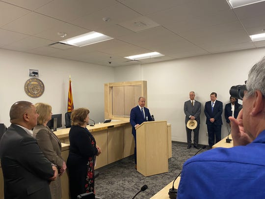 Valleywise Health CEO Steve Purves spoke at the recent dedication of the treatment center, which will have a court commissioner on duty to determine whether patients should be committed or released to family.