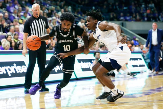 Grand Canyon guard Jovan Blacksher drives against Kansas City in first-half action at Grand Canyon University Arena on Feb. 13, 2020.