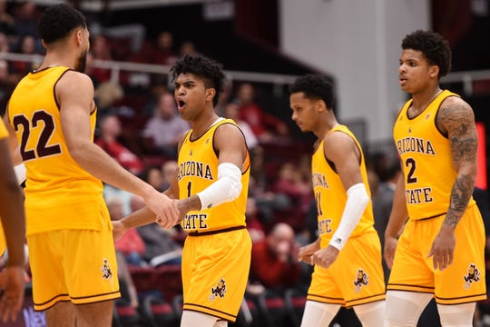 Feb 13, 2020; Stanford, California, USA; Arizona State Sun Devils guard Remy Martin (1) and teammates react going into a timeout against the Stanford Cardinal in the first half at Maples Pavilion. Mandatory Credit: Cody Glenn-USA TODAY Sports