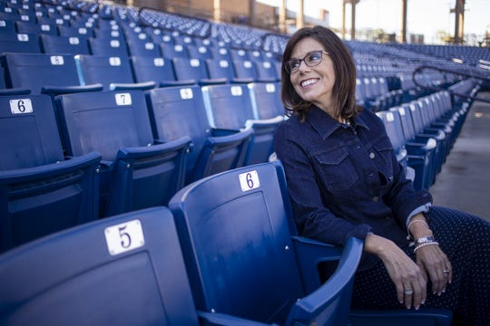 Bridget Binsbacher, executive director of the Cactus League, poses for a portrait on Friday, Feb. 7, 2020, at American Family Fields of Phoenix in Phoenix.