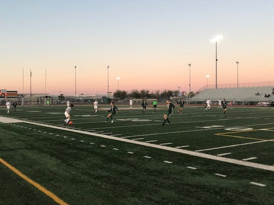 Campo Verde (green) defeated Notre Dame Prep (white) on Thursday to advance to the 5A boys soccer playoffs