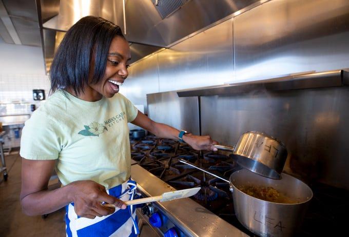Maya Bartlett, owner of Maya's Cajun Kitchen, uses Fuerza Local Community Kitchen in Mesa to cook a vegan jambalaya on Feb. 7, 2020.