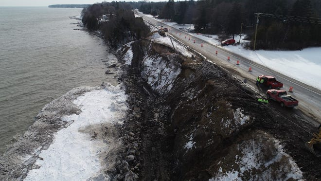 A roadside stabilization project along M-25 was needed due to erosion caused by high water levels.