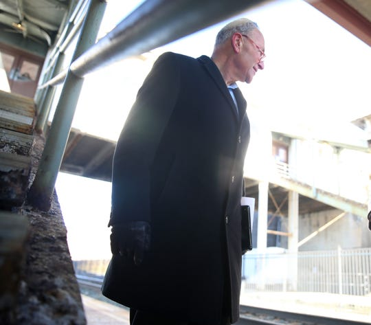 Senator Chuck Schumer tours the Rhinecliff Train Station on February 14, 2020. Schumer is calling for AMTRAK to invest in the station which has not seen any upgrades in about 15 years.