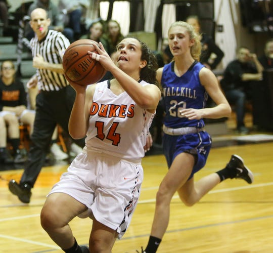 Marlboro's Alexa Bernicker goes for a layup against Wallkill during a Feb. 13 girls basketball game.
