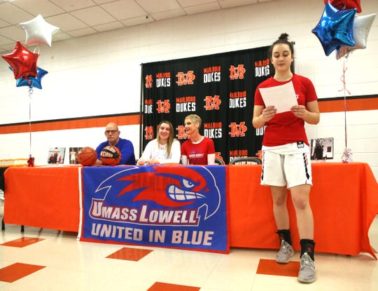 Eizabeth Lofaro speaks about her relationship with her sister Erin at Marlboro High School on February 13, 2020.