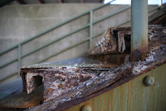The rusting stairs at the Rhinecliff Train Station on February 14, 2020.