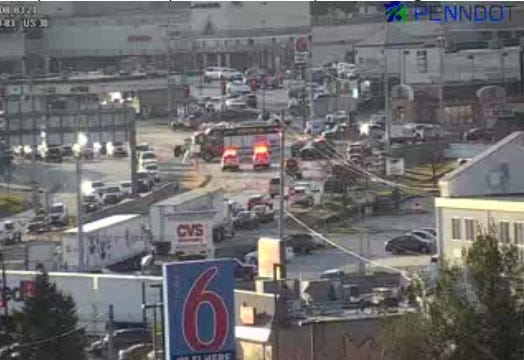 A crash at the intersection of Route 30 and North Susquehanna Trail is slowing down traffic. No one was injured.