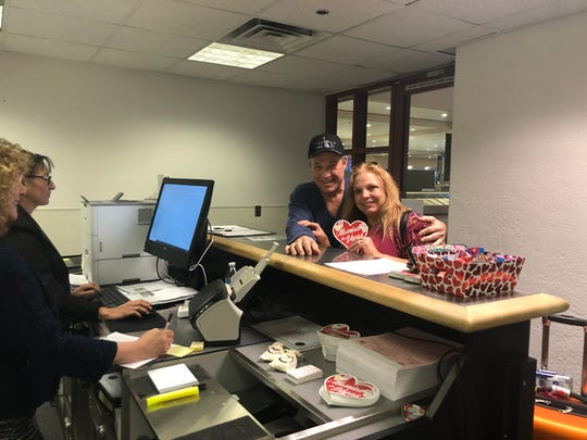 """Couple Holly Chickos and John """"Jack"""" Uberti took advantage of the pop-up marriage office Thursday afternoon."""