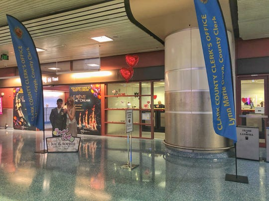 The Clark County Clerk's Office has opened a temporary marriage license office in the Terminal 1 baggage claim area at McCarran International Airport.