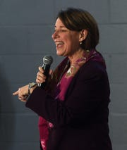 U.S. Senator and democratic candidate for president Amy Klobuchar speaks during a campaign rally at the Boys and Girls Club in Reno on Feb. 14, 2020.