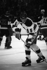 USA's Mike Ramsey, who had just turned 19, warms up before exhibition game against Yale on Dec. 8, 1979 in Buffalo. Ramsey was a Buffalo Sabres first-round draft pick and after winning gold in Lake Placid became one of their greatest players ever.