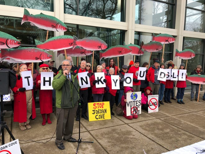 Oregon state Sen. Jeff Golden speaks to demonstrators opposed to a plan to build a natural gas pipeline and marine export terminal in Oregon, at the Department of State Lands in Salem, Ore., Tuesday, Feb. 4, 2020.