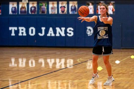 Sophia Carley, a senior basketball player, runs drills during practice at Kennedy High School in Mt. Angel, Ore. on Feb. 12, 2020.