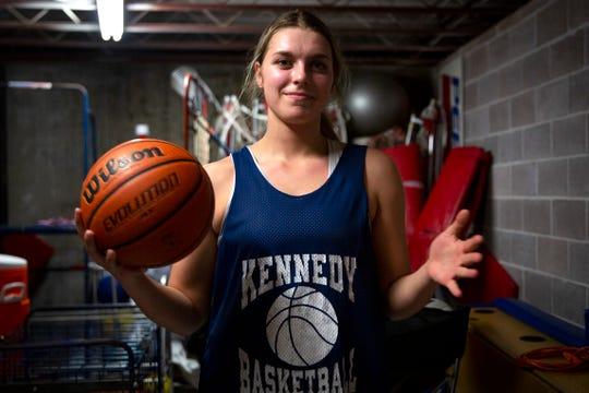 Sophia Carley, a senior basketball player, poses for a portrait at Kennedy High School in Mt. Angel, Ore. on Feb. 12, 2020.