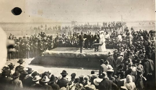 Willie Loyd Pringle and Maud Morgan tie the knot at the San Angelo Fair in 1903. The couple received many gifts from local merchants to help them begin their married life, including a laying hen and a lot on 6th Street near the high school.