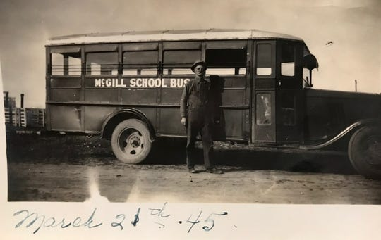 For many years, Burl Pringle's father, Willie Loyd Pringle, drove the McGill School bus, which went all the way to Tankersley to pick up students. He retired in March of 1945.