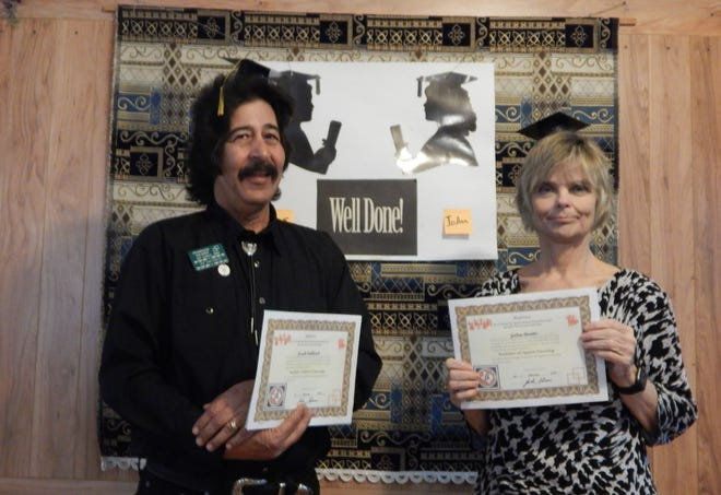 From left: Joseph Smithwick and JoAnn Avants recently graduated from the Promenade Squares School of square dance.