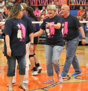 "San Angelo Central High School head volleyball coach Connie Bozarth was all smiles during the 2017 ""Rally for a Cure"" match, along with longtime assistant coach David Millsap."