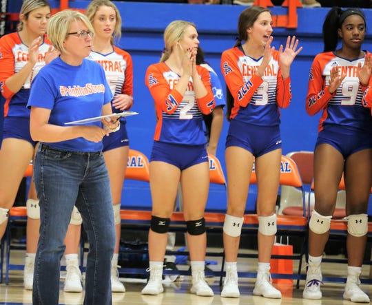 San Angelo Central High School head volleyball coach Connie Bozarth and the Lady Cats are pictured during the 2019 season, which would turn out to be her last. She's retiring at the end of the school year in May 2020.
