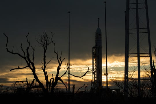 A Northrop Grumman Antares rocket carrying a Cygnus resupply spacecraft is seen at sunrise on Pad-0A, Friday, Feb. 14, 2020, at NASA's Wallops Flight Facility in Virginia. Northrop Grumman's 13th contracted cargo resupply mission with NASA to the International Space Station will deliver more than 7,500 pounds of science and research, crew supplies and vehicle hardware to the orbital laboratory and its crew. The CRS-13 Cygnus spacecraft is named after the first African American astronaut, Major Robert Henry Lawrence Jr., and is scheduled to launch at 3:43pm EST. Photo Credit: (NASA/Aubrey Gemignani)