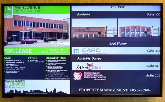 Reagan National University is included on a screen listing all businesses in the office building at 114 S. Main Ave. on Jan. 29 in downtown Sioux Falls, S.D.