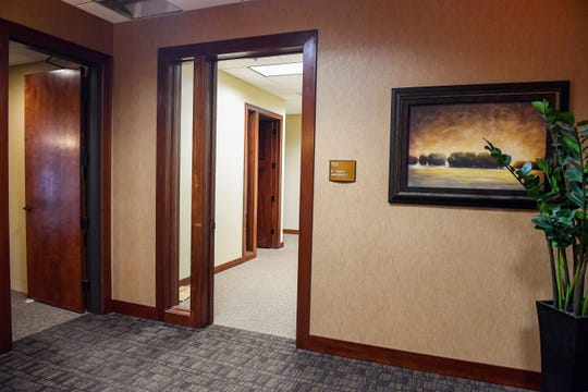 "At one Sioux Falls address listed for Reagan National University, a plaque reads ""Si Tanka University."" Reagan's operators changed the university's name from Si Tanka to Reagan in 2017. The suite was nearly empty on Jan. 29."