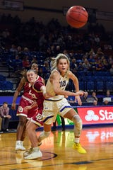 Tylee Irwin of SDSU gets a head start on chasing a loose ball against Lauren Loven of Denver on Thursday, Feb. 13, at Frost Arena in Brookings.
