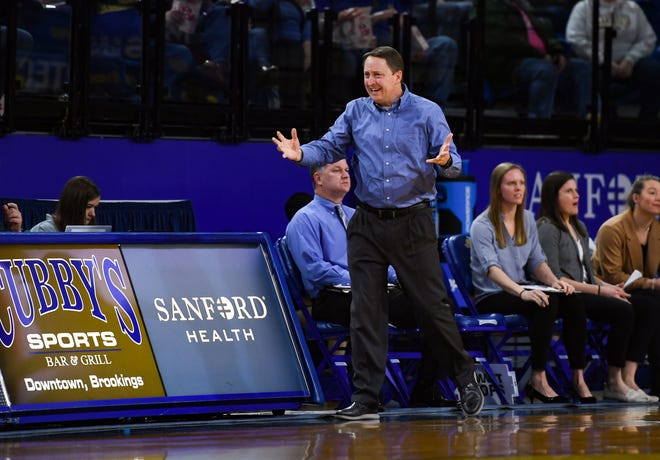 SDSU women's basketball coach Aaron Johnston reacts to a foul call he thinks is unfair during a game against Denver on Thursday, Feb. 13, at Frost Arena in Brookings.