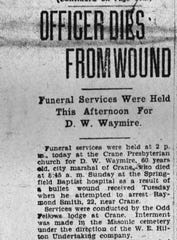 The evening edition of The Springfield Leader on March 14, 1927. Marshal David William Waymire was shot in the stomach and the bullet created 10 holes in his intestines.