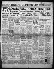 The evening edition of The Springfield Leader on March 8, 1927. Marshal David William Waymire died six days later. He was shot in the stomach and the bullet created 10 holes in his intestines.