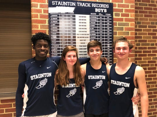Staunton's Rajheik Ibar (from left), Aurora Schwaner, Ryan Bosserman, and Brendan Apgar have all qualified for the Class 2 indoor state track meet.
