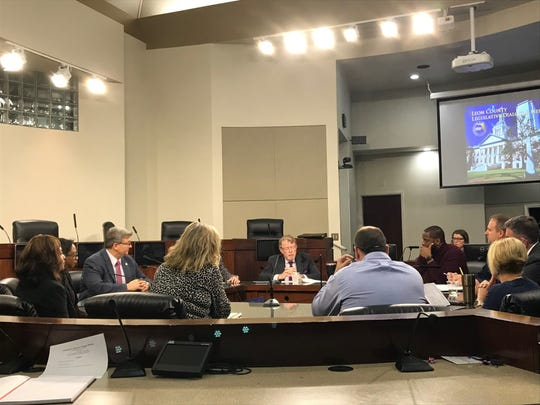 County commissioners and department heads listen while Jeff Sharkey (c) delivers an update on the 2020 Legislative Session, Feb. 14, 2020