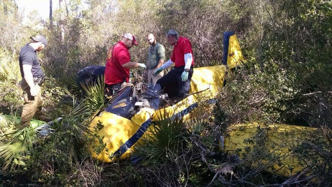 The wreckage of the plane Greg Newman was piloting when he crashed.