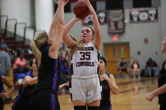 Madison County senior guard Brittany Hasty shoots a mid-range jumper as the Cowgirls' girls basketball team beat Branford 71-35 in a Region 4-1A semifinal on Feb. 13, 2020.