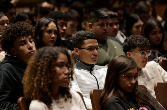 Montwood High School seniors learn about organ donation during a presentation by the Southwest Transplant Alliance on Friday, Feb. 14, 2020.